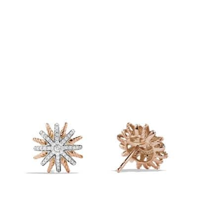 Starburst Earrings with Diamonds in 18K Rose Gold, 14mm