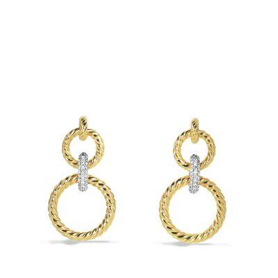 Cable Classics Doorknocker Earrings with Diamonds in Gold