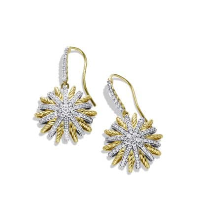 Starburst Drop Earrings with Diamonds in 18K Gold