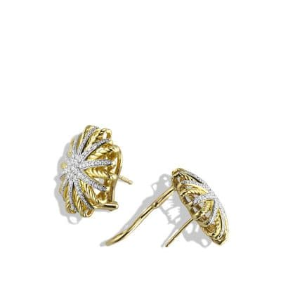Starburst Earrings with Diamonds in 18K Gold, 22mm