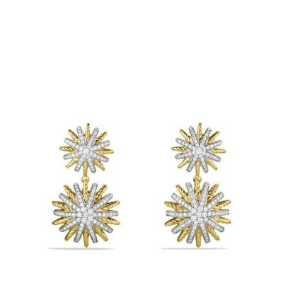 Starburst Double-Drop Earrings with Diamonds in 18K Gold