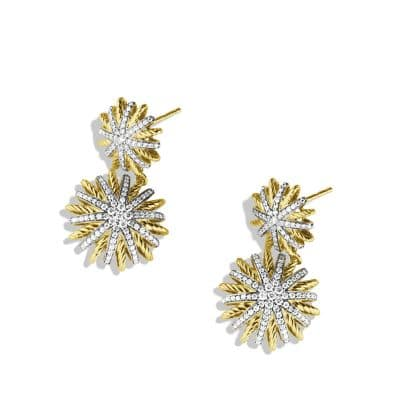 Starburst Double-Drop Earrings with Diamonds in Gold
