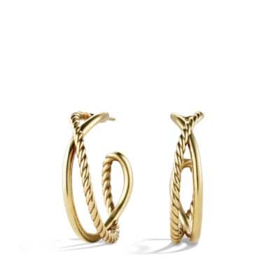 Crossover Hoop Earrings in 18K Gold