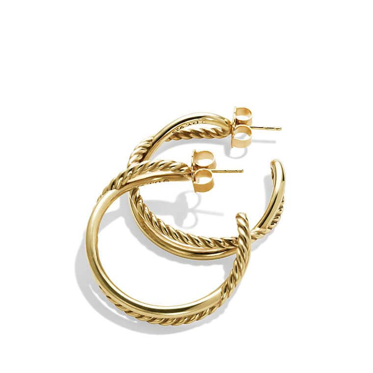 Crossover Hoop Earrings in Gold