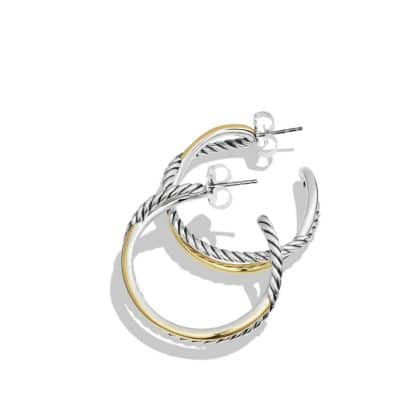 Crossover Hoop Earrings with 14K Gold