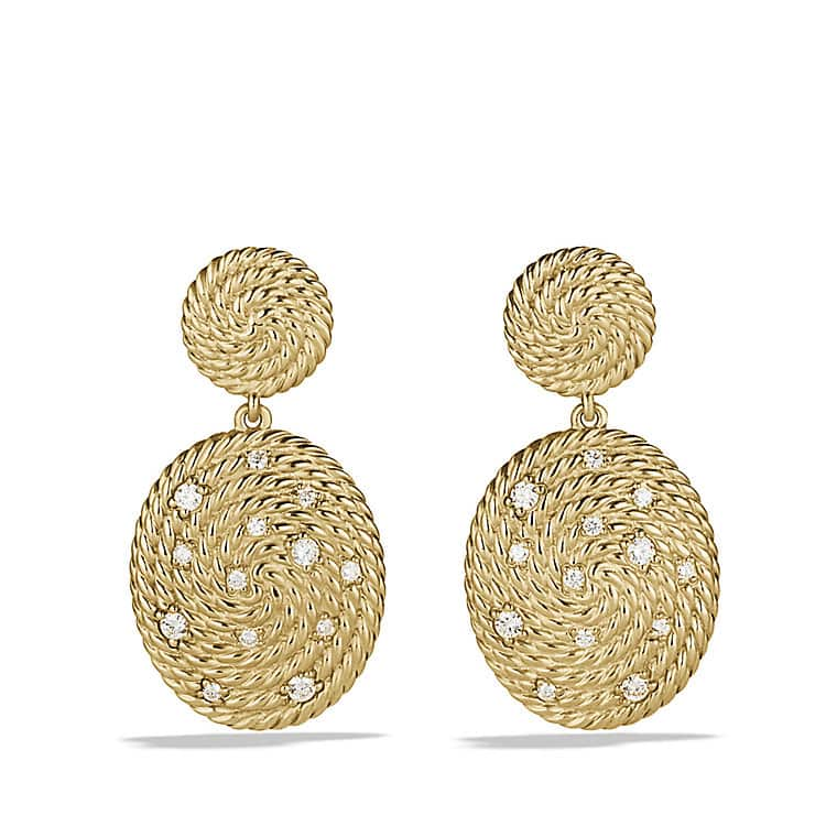 Cable Coil Double-Drop Earrings with Diamonds in Gold
