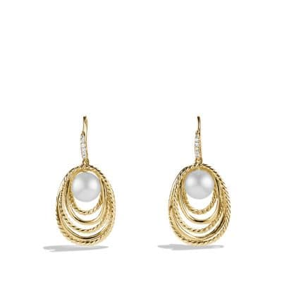Pearl Crossover Drop Earrings with Diamonds in Gold