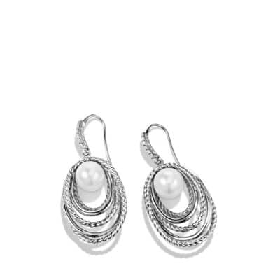 Crossover Drop Earrings with Pearls and Diamonds