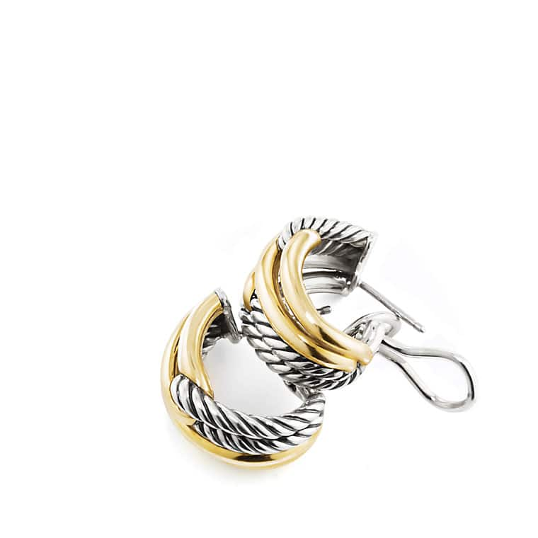 Labyrinth Double-Loop Earrings with Gold