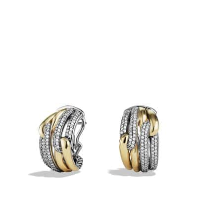 Labyrinth Double-Loop Earrings with Diamonds and Gold