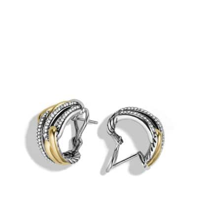 Labyrinth Double-Loop Earrings with Diamonds and 18K Gold