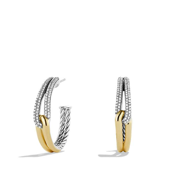 Labyrinth Hoop Earrings with Diamonds and Gold