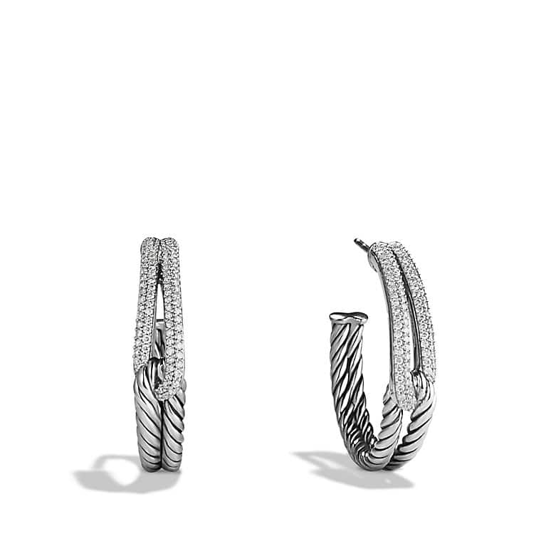 Labyrinth Hoop Earrings with Diamonds