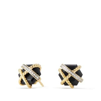 Cable Wrap Earrings with Black Onyx and Diamonds in 18K Gold, 10mm