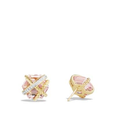 Cable Wrap Earrings with Morganite and Diamonds in 18K Gold, 10mm