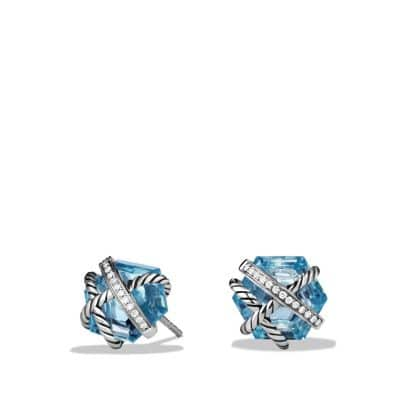 Cable Wrap Earrings with Blue Topaz and Diamonds, 10mm