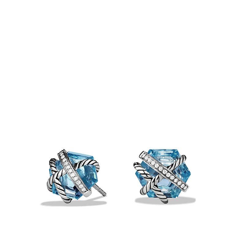 Cable Wrap Earrings with Blue Topaz and Diamonds