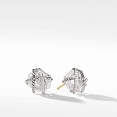Cable Wrap Earrings with Crystal and Diamonds, 10mm
