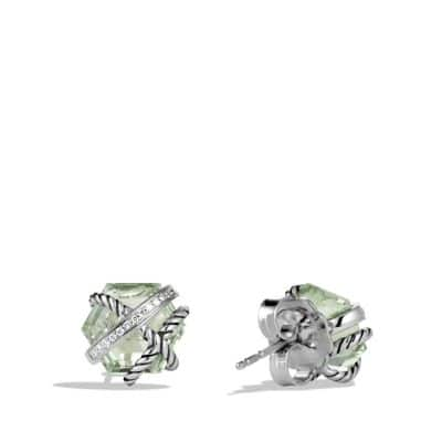 Cable Wrap Earrings with Prasiolite and Diamonds, 10mm