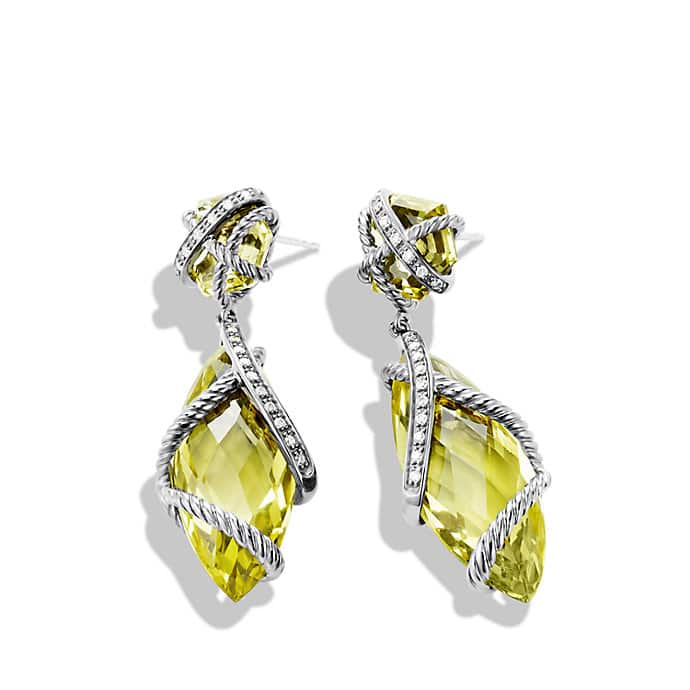 Cable Wrap Double-Drop Earrings with Lemon Citrine and Diamonds