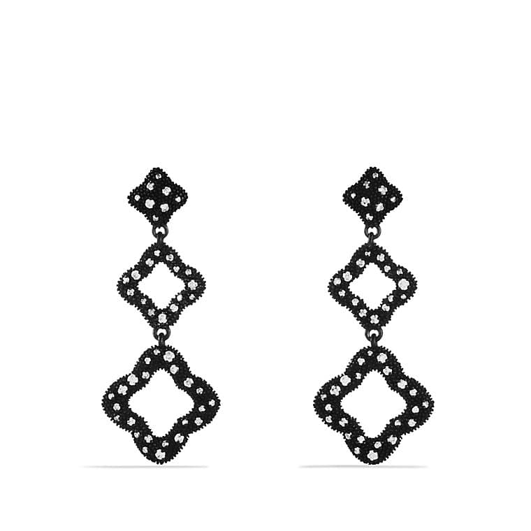 Quatrefoil Triple-Drop Earrings with Diamonds
