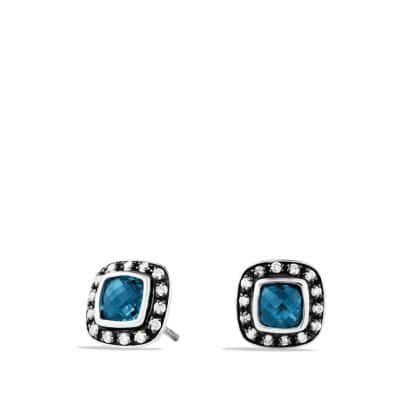 Petite Albion Earrings with Hampton Blue Topaz and Diamonds