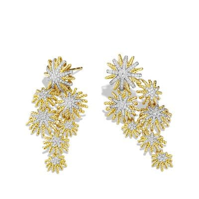 Starburst Cluster Earrings with Diamonds in 18K Gold
