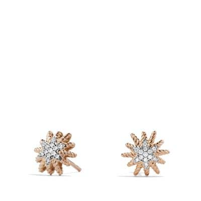 Starburst Earrings with Diamonds in 18K Rose Gold, 10mm