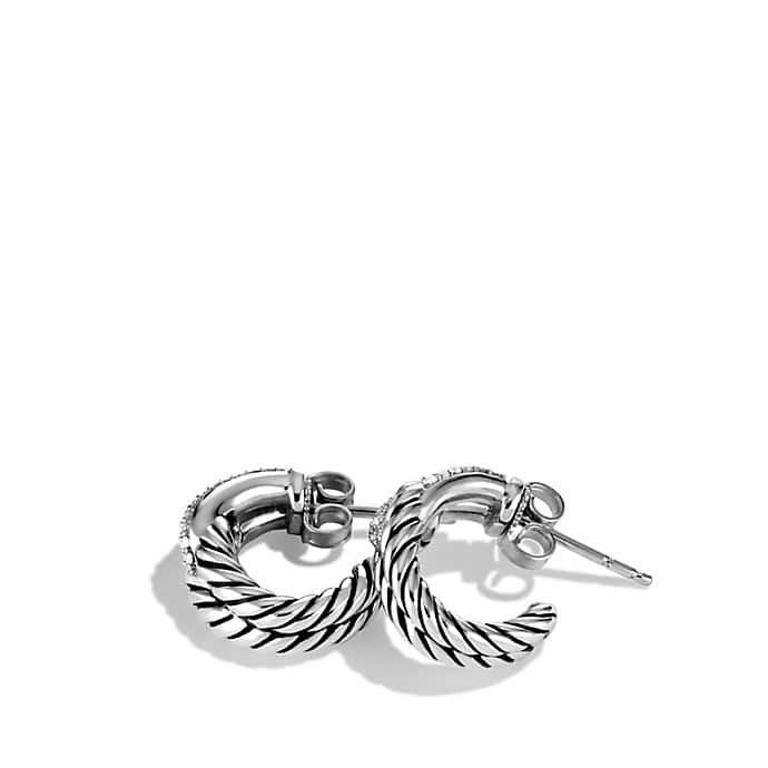 Labyrinth Single-Loop Earrings with Diamonds