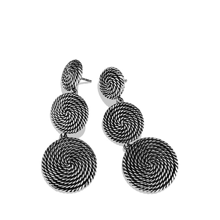 Cable Coil Triple-Drop Earrings