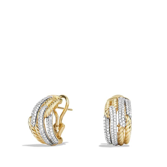 Labyrinth Double-Loop Earrings with Diamonds in Gold