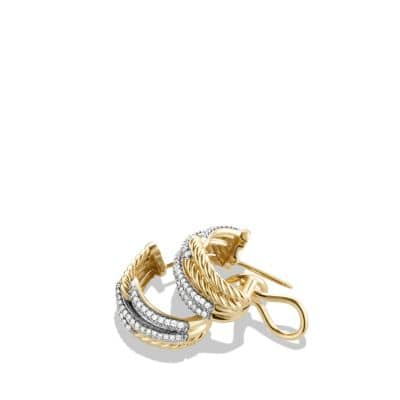 Labyrinth Double-Loop Earrings with Diamonds in 18K Gold