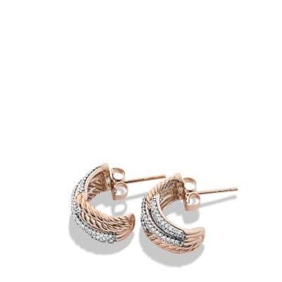 Labyrinth Double-Loop Earrings with Diamonds in Rose Gold