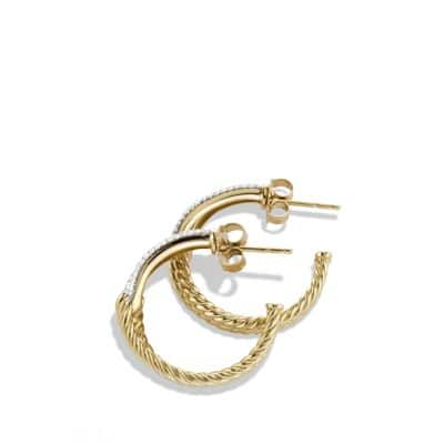 Labyrinth Hoop Earrings with Diamonds in 18K Gold