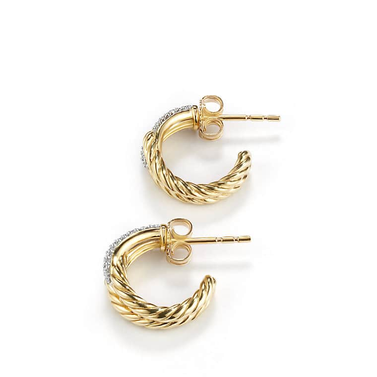 Labyrinth Single-Loop Earrings with Diamonds in Gold