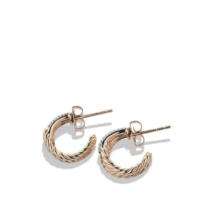 Labyrinth Single-Loop Earrings with Diamonds in Rose Gold