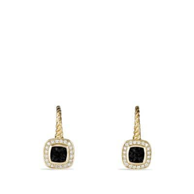 Albion Drop Earrings with Black Onyx and Diamonds in Gold