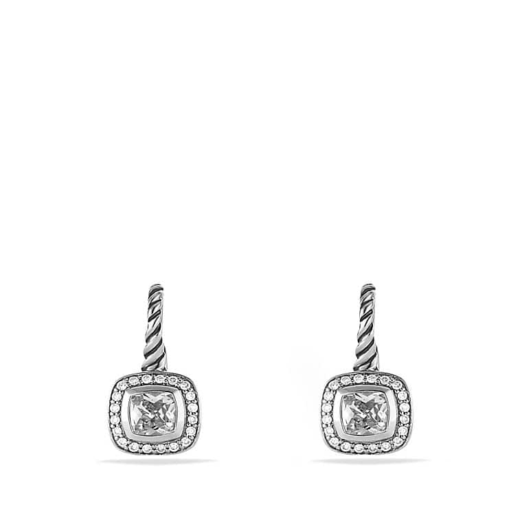 Albion Drop Earrings with White Topaz and Diamonds
