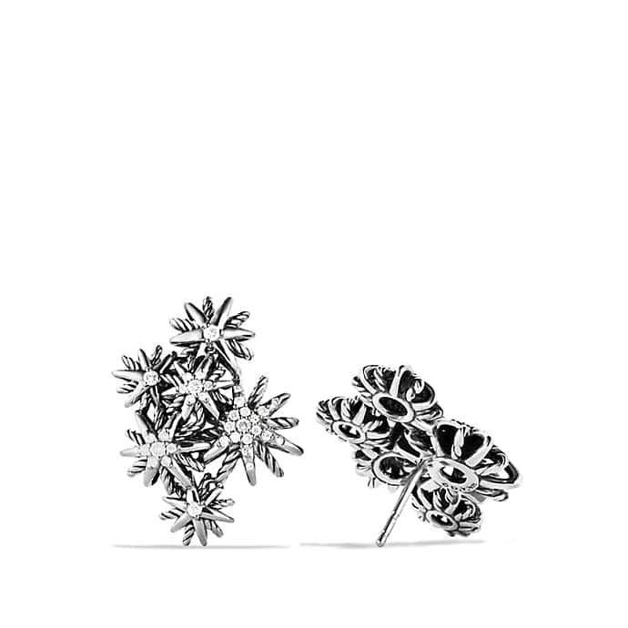 Starburst Cluster Earrings with Diamonds