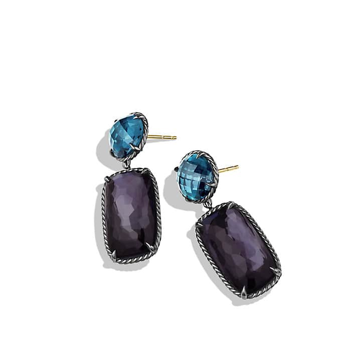 Grisaille Earrings with Black Orchid and Hampton Blue Topaz