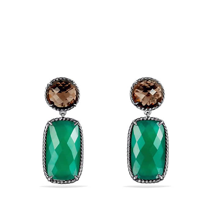 Chatelaine Double-Drop Earrings with Green Onyx and Smoky Quartz