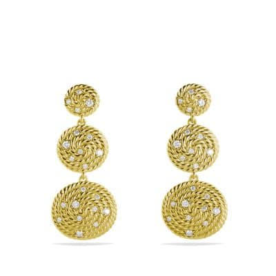 Cable Coil Triple-Drop Earrings with Diamonds in Gold