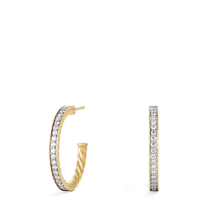 Sculpted Cable Large Hoop Earrings with Diamonds in Gold