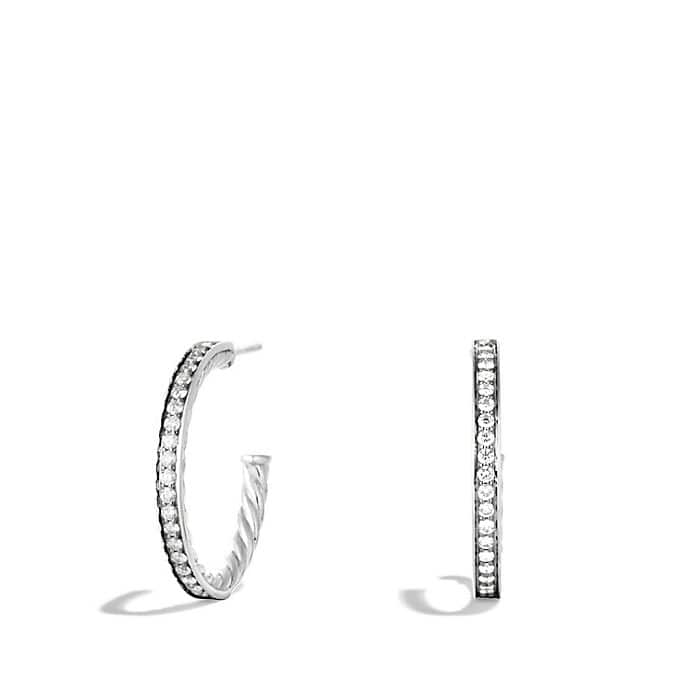 Sculpted Cable Large Hoop Earrings with Diamonds