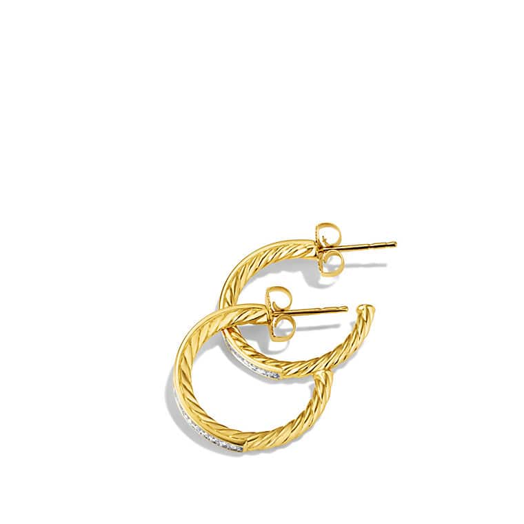 Sculpted Cable Medium Hoop Earrings with Diamonds in Gold