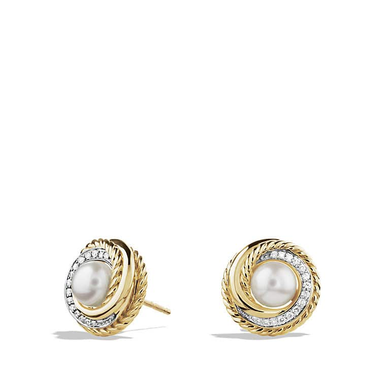 Crossover Earrings with Pearls and Diamonds in Gold