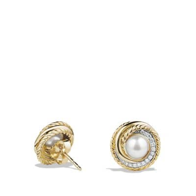 Crossover Earrings with Pearls and Diamonds in 18K Gold