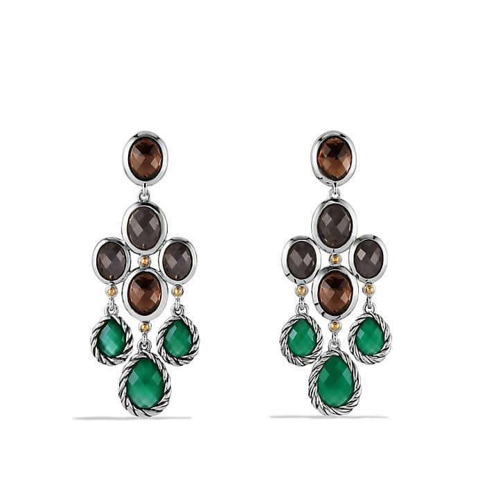 Color Classic Chandelier Earrings with Green Onyx, Smoky Quartz, and Gold