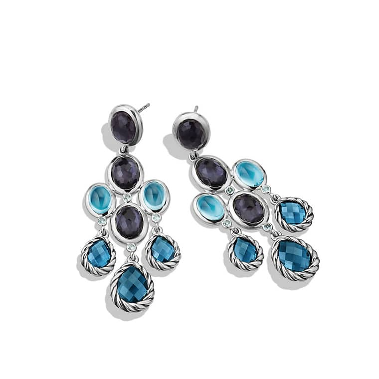 Classic chandelier earrings with hampton blue topaz black orchid color classic chandelier earrings with hampton blue topaz black orchid and gray sapphires mozeypictures Gallery