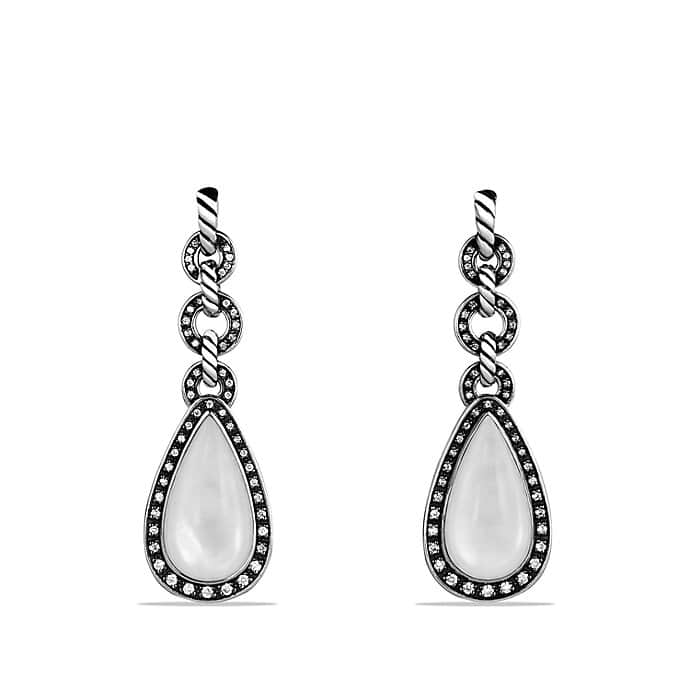 Anjou Drop Earrings with Moon Quartz and Diamonds